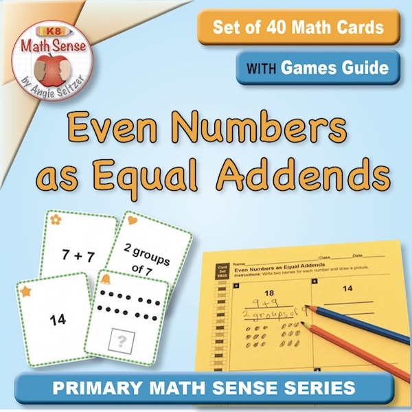 Even Numbers as Equal Addends Card Games 2A32