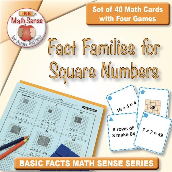 FREE Fact Families for Square Numbers Card Games  3A23