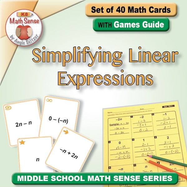 Simplifying Linear Expressions Card Games 7E11