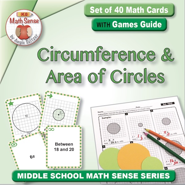 Circumference and Area of Circles Card Games 7G22