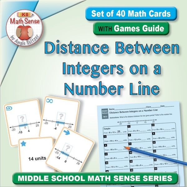 Distance Between Integers on a Number Line Card Games 7N13