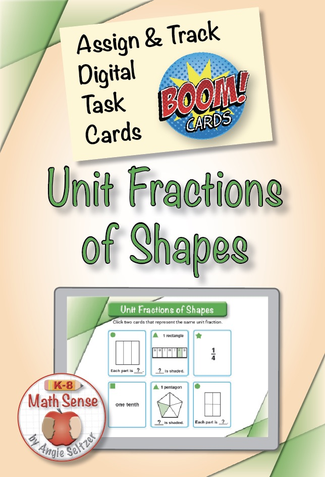 Unit Fractions of Shapes Boom Cards Median 3G12 at TpT
