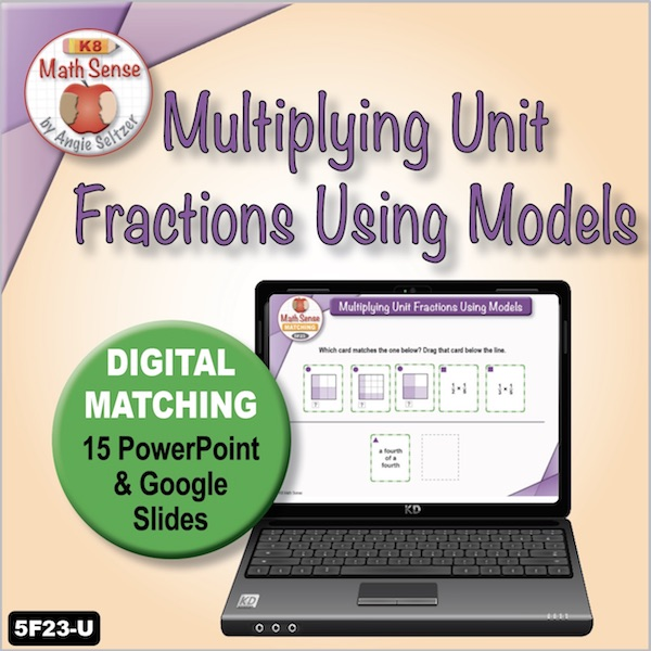 Multiplying Unit Fractions Using Models 15 PPT / Google Slides 5F23U
