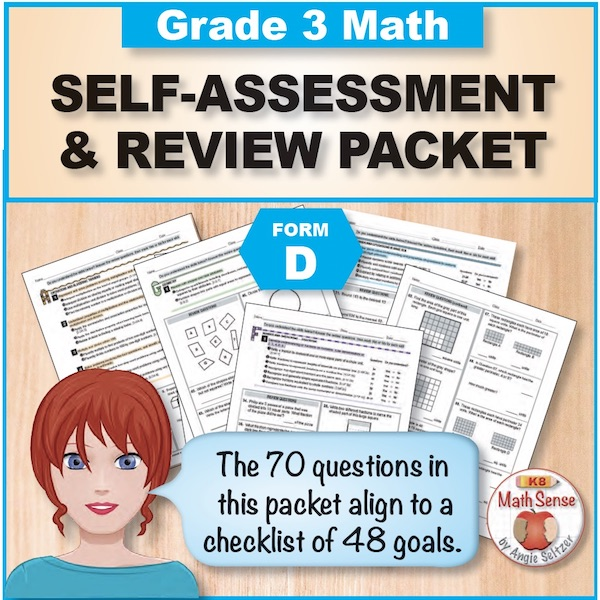 Grade 3 Form D Math Self-Assessment & Review Packet - 70 Questions