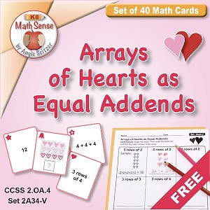 FREE Arrays of Hearts as Equal Addends Card Games 2A34-V