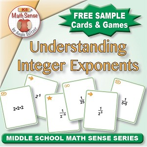 FREE Understanding Integer Exponents Card Games 8E11