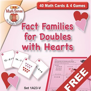 FREE Fact Families for Doubles  with Hearts Games 1A23-V