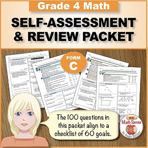 Grade 4 Form C Math Self-Assessment & Review Packet - 100 Questions