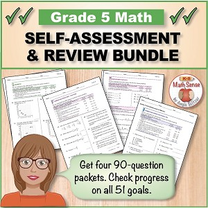 Grade 5 Math Self-Assessment & Review BUNDLE  (Forms A-D)