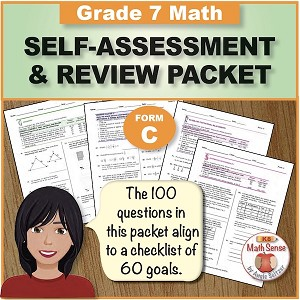Grade 7 Form C Math Self-Assessment & Review Packet - 100 Questions